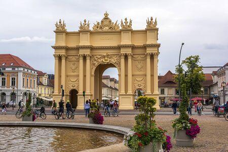 Berlin, Germany - August 17 2019 - Brandenburg gate at Louise Square, Potsdam, Germany