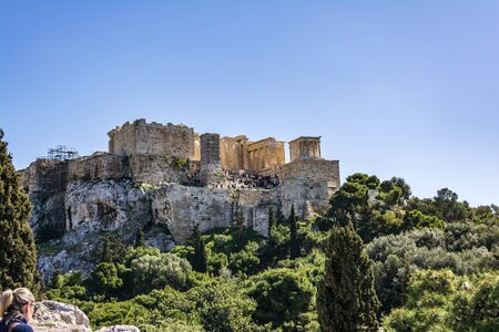 Acropolis view from Areopagus hill, Athens, Greece. Archivio Fotografico