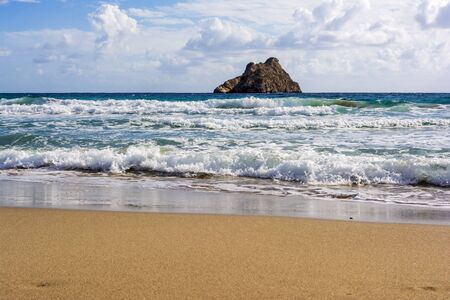 Beautiful greek seascape at east Crete. Xerokampos beach. 版權商用圖片