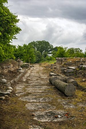 Ancient stone path and ruins in Dion, Greece.