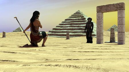 An ancient Egyptian woman watching a man from space - 3d rendering