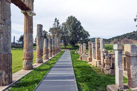 Temple of Artemis in archaeological site of Brauron, Attica, Greece