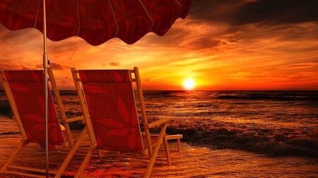 Two empty chairs on beach under opened umbrella with view on sea sunset - 3d rendering