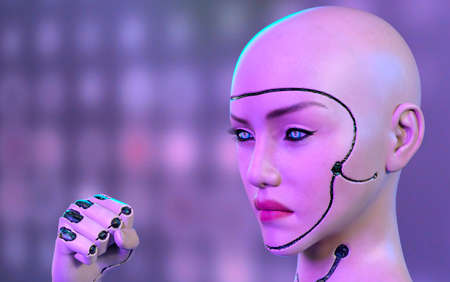 Female robot face and hand - 3d rendering 免版税图像