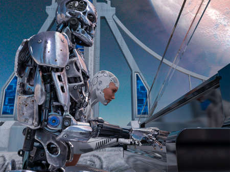 Close up of a robot and a woman playing piano with a big planet background 免版税图像