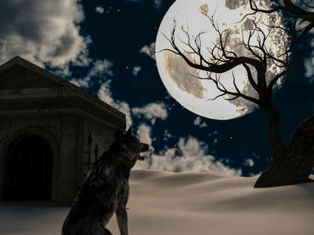 Illustration of a wolf during the full moon in winter with a creepy tree and an old crypt 免版税图像