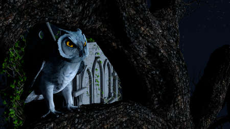 An owl sits motionless on a tree in the blue moonlight near a Mausoleum 免版税图像 - 153028637