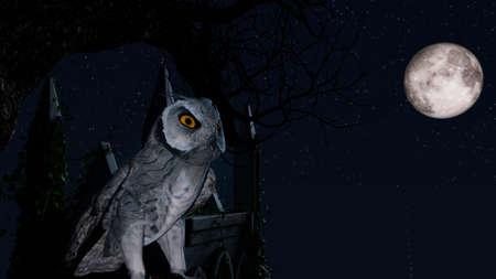 An owl sits motionless on a tree in the blue moonlight near a Mausoleum 免版税图像 - 153044696