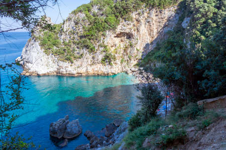 Remote beach named 'Fakistra' at area of Pelion in Greece 免版税图像