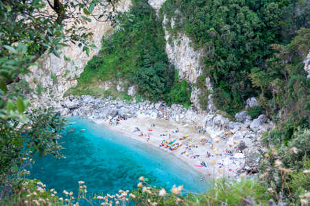 Remote beach named 'Fakistra' at area of Pelion in Greece 免版税图像 - 154751974
