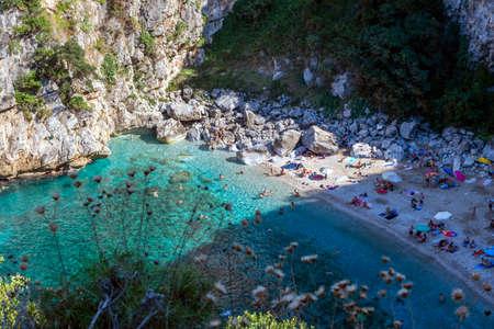 Pelion, Fakistra beach, Greece - August 11 2020: Remote beach Fakistra at area of Pelion in Greece