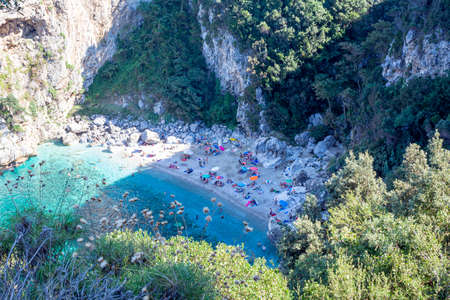 Pelion, Fakistra beach, Greece - August 11 2020: Remote beach Fakistra at area of Pelion in Greece 免版税图像 - 154699773