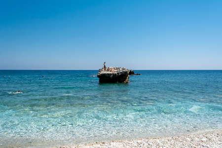 Pelion, Damouchari beach, Greece - August 11 2020: Picturesque Damouchari beach at Pelion in Greece 新闻类图片
