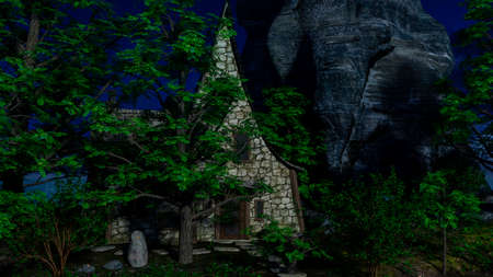 Stoned house in a fairytale forest at moonlight 免版税图像