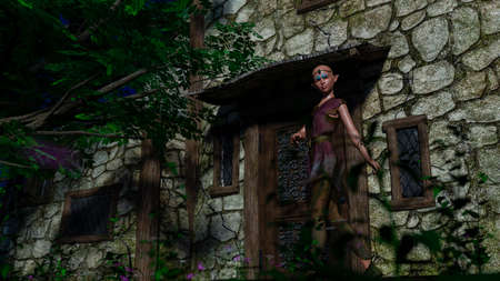 Forest elf with no hair in front of the house in the forest 免版税图像 - 156552624