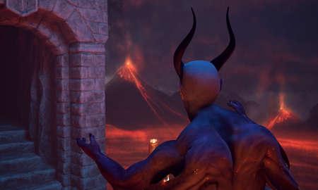 Fallen angel satan in hell 免版税图像