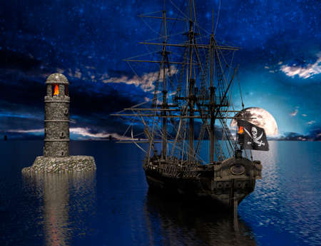 Pirate sailship near the old lighthouse with fire at moonlight - 3d rendering 免版税图像 - 157790488