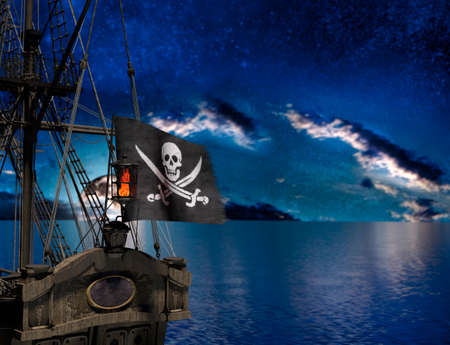 Pirate sailship with flag at moonlight