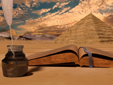 Vintage old book on desert background with pyramid