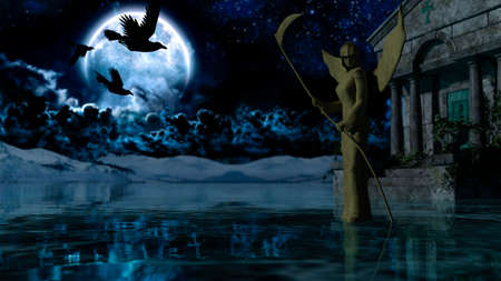 Angel of Death - Spooky Night background with moon