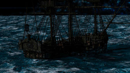 Captain skeleton in a ghost sailboat by night time