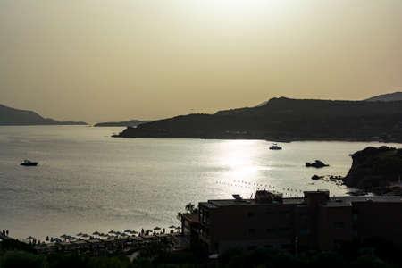 Beautiful sunset in athens region. Greece sea sunset 免版税图像