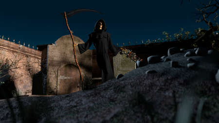 A graveyard and death skeleton in the hood standing on it with a scythe on a night background