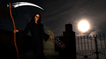 A graveyard and death skeleton in the hood standing on it with a scythe on a night background with moon