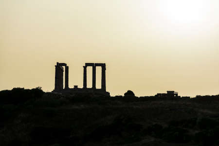 Sunset at the ancient temple of Poseidon at Cape Sounion. He was the god of the Sea.