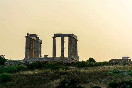 The ancient temple of Poseidon at Cape Sounion. He was god of the Sea.