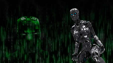 Metallic cyborg on black robotic background