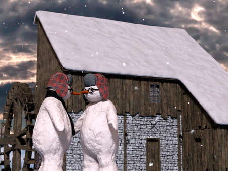 Two Christmas Snowmen are celebrating Christmas near a beautiful village house - 3d rendering