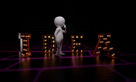 3d man in front of idea text with lightbulbs at the dark background - 3d rendering