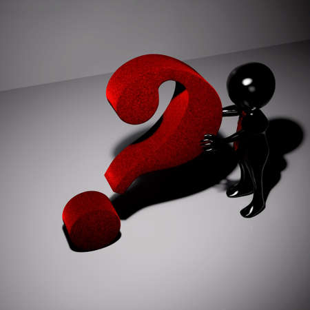 3d black man with red tie supporting a big red question mark