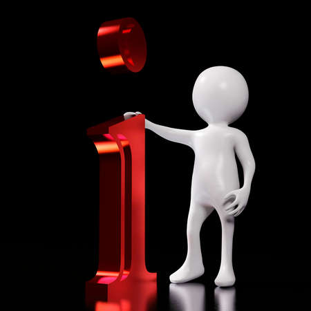 White 3d man standing next to red-letter i at dark background. Illustration of information concept - 3d rendering 免版税图像