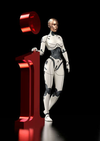 A white cyborg holds the letter i. Information illustration.