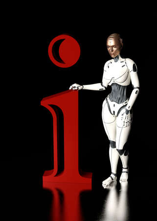 A white cyborg holds the letter i. Information illustration - 3d rendering