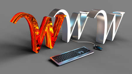 WWW 3d text with mouse and keyboard. Network communication concept.