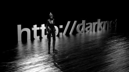 Darknet text word on dark background and a woman in black 免版税图像