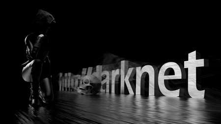 Darknet text word on a dark background, a woman in black and a skull - 3d rendering