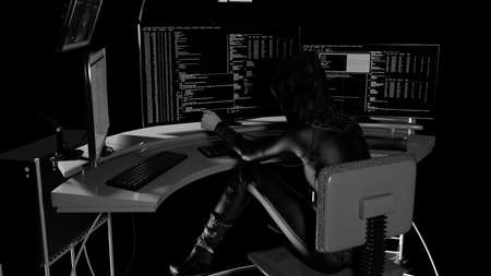 Side view of a female hacker stealing information from multiple computers - 3d rendering 免版税图像 - 164031845