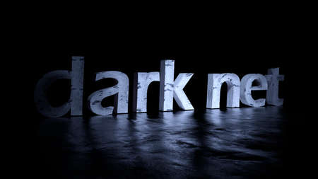 Darknet text word on black background - 3D rendering