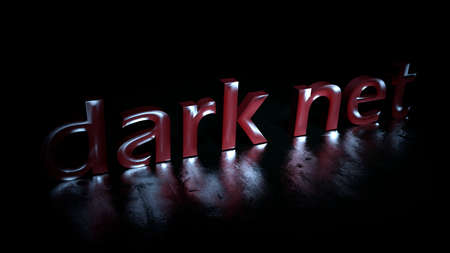 Darknet red text word on black background - 3D rendering