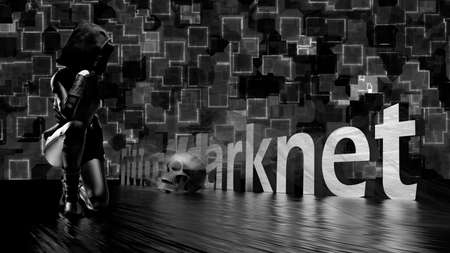 Darknet text word on a dark background, a woman in black and a skull - 3d rendering 免版税图像 - 164290315