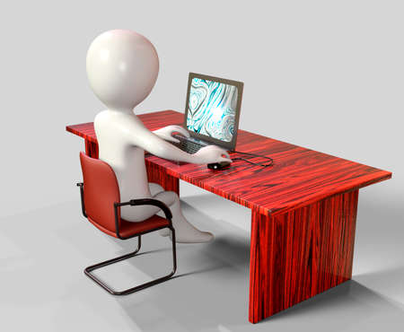 3d cartoon character using laptop computer - 3d rendering