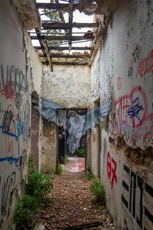Villa Levidi, Pallini, Greece - February 14, 2021: Pigeon wall painting at an abandoned old villa at Pallini, Greece