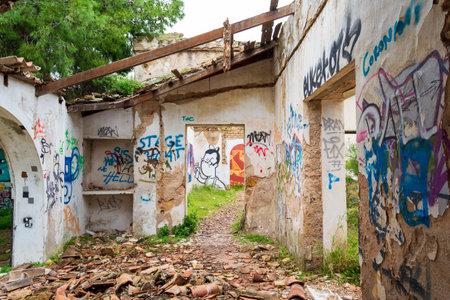 Wall painting at an abandoned old villa at Pallini, Greece