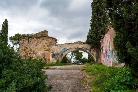 Villa Levidi, Pallini, Greece - February 14, 2021: An abandoned old villa at Pallini, Greece