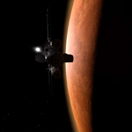 Spaceship near Mars the Red planet of the solar system in space