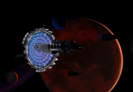Time-space gate and spaceships near a Red planet of the solar system in space - 3d rendering